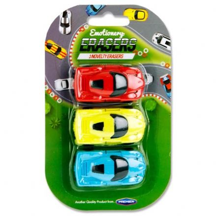 Premier Pack of 3 Novelty Erasers - Racing Cars